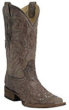 Corral Women's Distressed Sand w/ Red Cross Overlay Double Welt Square Toe Western Boots