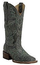 Corral Women's Distressed Black w/ Turquoise Cross Overlay Double Welt Square Toe Western Boots