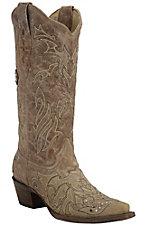 Corral Women's Distressed Sand w/ Brown Cross Overlay Double Welt Snip Toe Western Boots