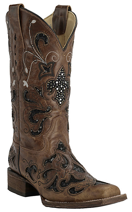 f2b54cb249d Corral Women's Distressed Light Brown with Black Sequin Inlay Square Toe  Western Boots