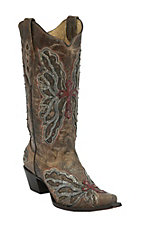Corral Women's Antique Bronze w/ Inlay Winged Cross & Brass Studs Snip Toe Western Boots