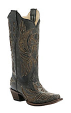 Corral Women's Black with Bronze Glitter Tribal Inlay Snip Toe Western Boots