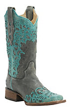 Corral Women's Distressed Black with Turquoise Laser Overlay Snip Toe Western Boots