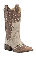 Corral Women's Distressed Sand with Cognac Laser Overlay Snip Toe Western Boots