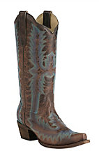 Corral Ladies Brown with Turquoise & Blue Fancy Stitch Snip Toe Western Boots