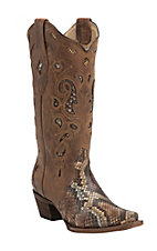 Corral Women's Brown & Tan Python Triad Inlay Snip Toe Western Boots
