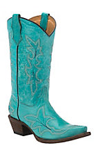 Corral Boot Company Youth Vintage Turquoise with Fancy Stitch Snip Toe Western Boots