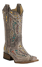 Corral Women's Vintage Taupe with Colorful Butterfly Inlay Square Toe Western Boot