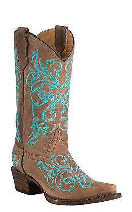 Corral Youth Vintage Tan with Turqoise Vine Embroidery Snip Toe Western Boots