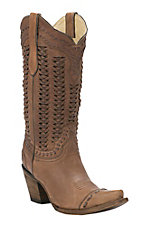 Corral Women's Sand with Braided Shaft & Glitter Inlay Snip Toe Western Boots