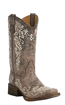 Corral Youth Vintage Tan with Ivory Floral Embroidery Square Toe Western Boots