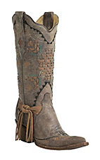 Corral Boot Company Women's Vintage Tobacco with Woven Aztec Design Snip Toe Western Boots