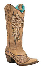 Corral Women's Antique Saddle with Wings Embroidery Snip Toe Western Boots