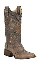 Corral Boot Company Women's Vintage Tobacco with Woven Aztec Design Square Toe Western Boots