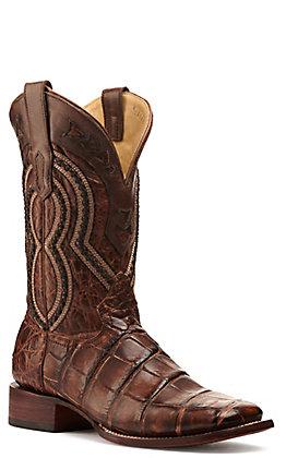 Corral Men's Rustic Dark Brown American Alligator Wide Square Toe Exotic Boots