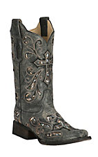 Corral Women's Distressed Black with Embroidered Cross Square Toe Western Boots