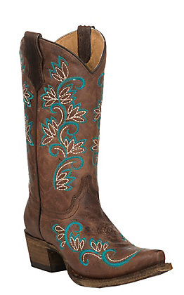 Corral Youth Brown with Turquoise Floral Embroidery Western Snip Toe Boots