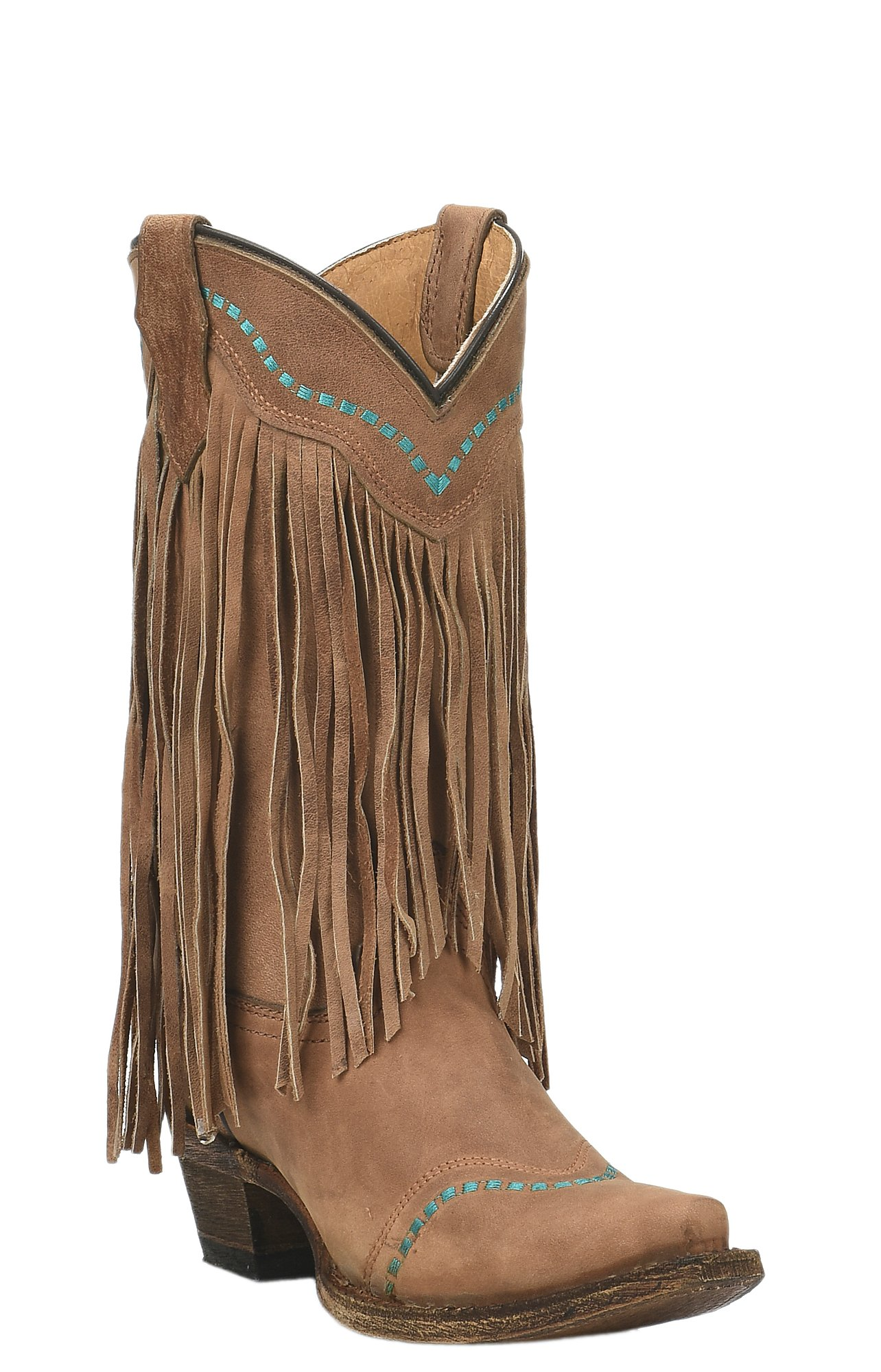 Corral Teen's Tan with Turquoise Stitching and Fringe Snip Toe ...