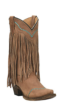 Corral Teen's Tan with Turquoise Stitching and Fringe Snip Toe Western Boots