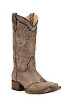 Corral Youth Distressed Brown Square Toe Western Boots