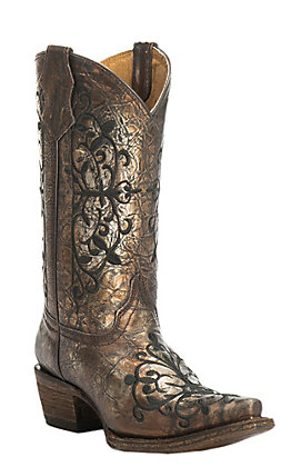 Corral Youth Distressed Bronze with Black Embroidery Snip Toe Western Boots