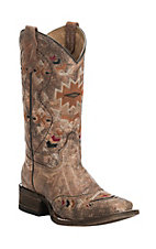 Corral Youth Distressed Cognac with Multi Colored Native Pattern Square Toe Western Boots