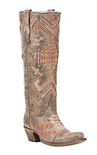 Corral Women's Tan with Orange and Bronze Aztec Print Inlay Western Snip Toe Boots