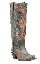 Corral Women's Grey with Orange and Turquoise Aztec Print Inlay Western Snip Toe Boots