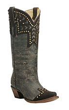 Corral Women's Chocolate with Studded Overlay Western Snip Toe Boots