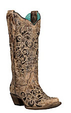 Corral Women's Brown Glitter Inlay & Studs Snip Toe Western Boot