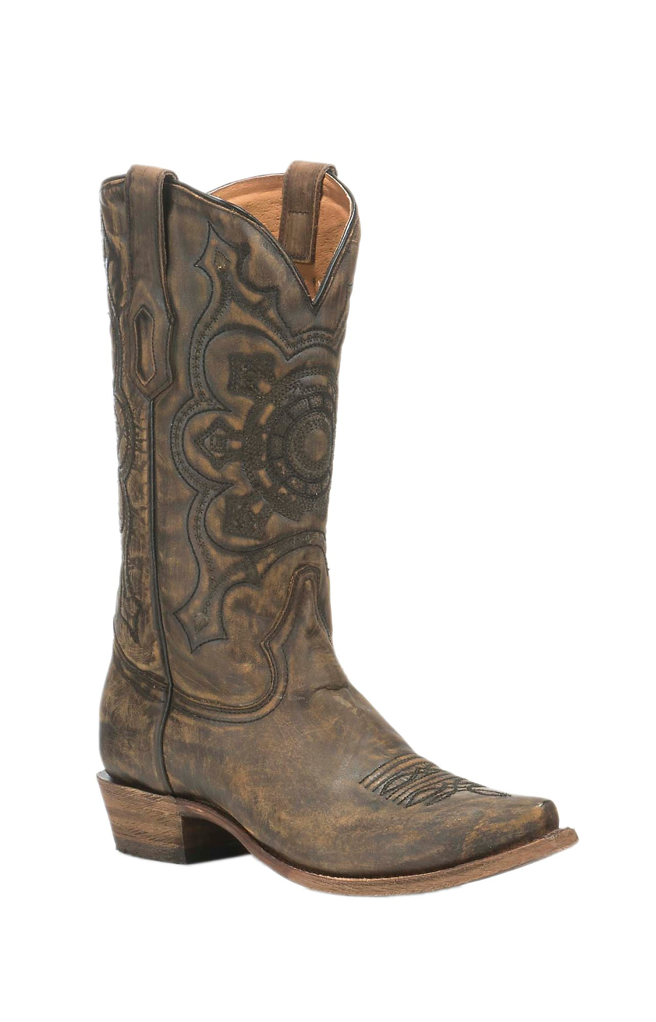 Corral Boot Company Men's Brown with Embroidery Comfort Western Snip Toe  Boots