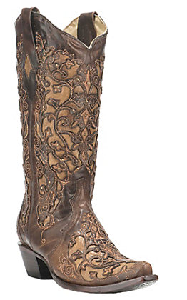 Corral Boot Company Women's Brown with Tan Inlay Western Snip Toe Boots