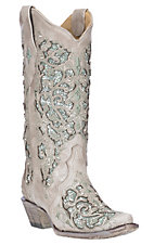 Corral Women's White w/ Mint Glitter & Crystals Inlay Wedding Snip Toe Boots