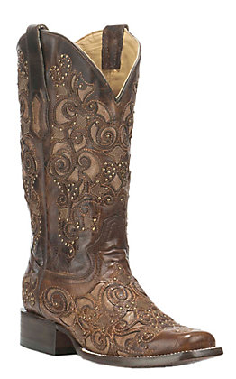 Corral Women's Brown with Tan Inlay and Studded Details Western Square Toe Boots