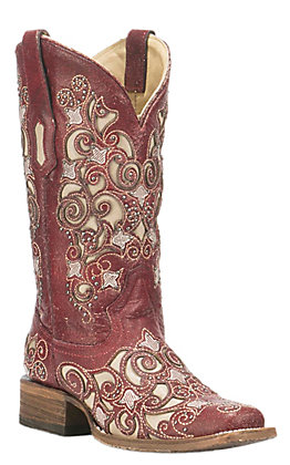 Corral Boot Company Women's  Red with Ivory Inlay and Studded Detail Western Square Toe Boots