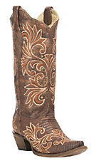 Corral Boot Company Women's Brown Lizard with Tan Inlay Western Snip Toe Boots