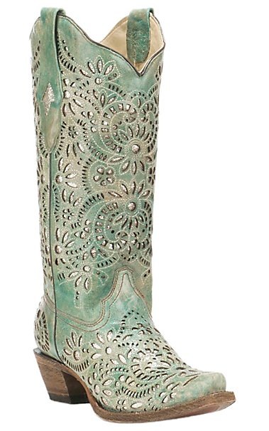 Corral Boot Company Women S Turquoise With Glitter Inlay Western