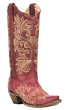 Corral Boot Company Women's Dark Red Lizard Print with Tan Embroidery and Studs Western Snip Toe Boots