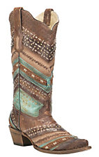 Corral Boot Company Women's Brown with Multi Pattern Embroidery and Studs Western Snip Toe Boots