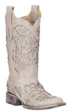 Corral Women's White w/ White Glitter & Crystals Inlay Wedding Square Toe Boots