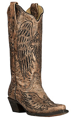 Corral Women's Bronze Wings and Cross Inlay Snip Toe Western Boot