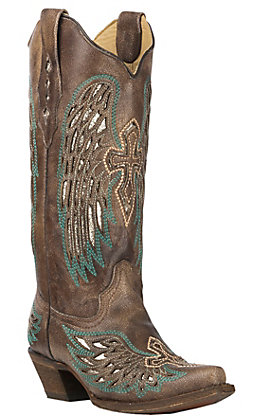 Corral Women's Brown with Turquoise Wings and Cross Inlay Snip Toe Boots
