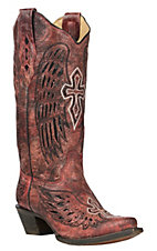 Corral Women's Red W/ Wings and Cross Inlay Snip Toe Western Boots