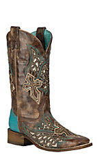 Corral Women's Brown with Turquoise w/ Wings and Cross Inlay Western Square Toe Boots