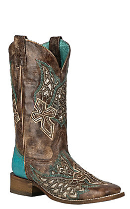 Corral Women's Brown with Turquoise with Wings and Cross Inlay Western Square Toe Boots