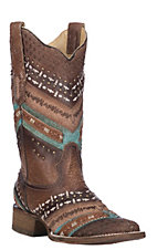 Corral Women's Turquoise and Brown w/ Embroidery and Studs Western Square Toe Boots