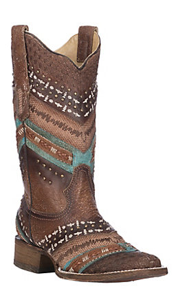 Corral Women's Turquoise and Brown with Embroidery and Studs Western Square Toe Boots