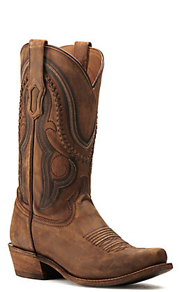 Corral Men's Golden Brown Cowhide Narrow Punchy Square Toe Toe Western Boots