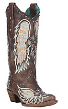 Corral Women's Chocolate Fish with Embroidered Wings and Cross Inlay Exotic Snip Toe Boots