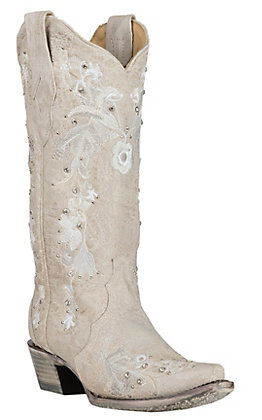 Corral Women's White with Floral Embroidery and Crystals Wedding Snip Toe Boots